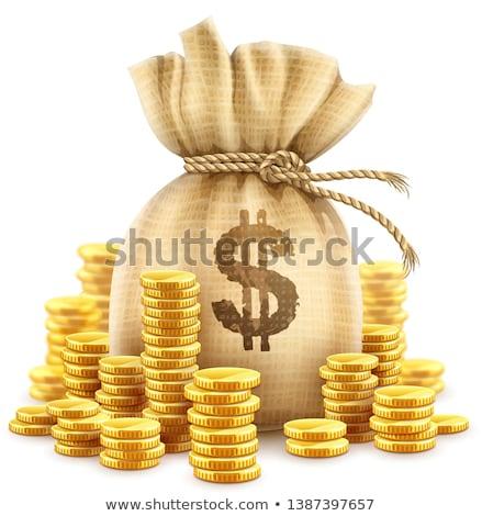 moedas · de · ouro · numerário · dinheiro · colina · eps10 · isolado - foto stock © loopall
