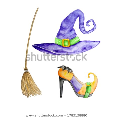 witches broom hat and shoes with halloween background stock photo © sandralise