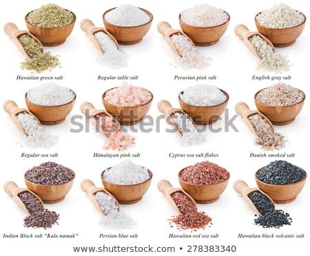Himalayan rock salt in a black bowl Stock photo © vinodpillai