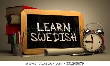 learn swedish   chalkboard with inspirational quote stock photo © tashatuvango