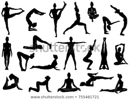 jóga · meditáció · nő · meditál · tengerpart · naplemente - stock fotó © blasbike