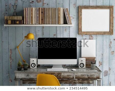 Poster mock Up, work desktop, with laptop, 3D illustration Stock photo © pozitivo