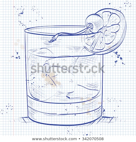 Old fashioned cocktail on a notebook page Stock photo © netkov1