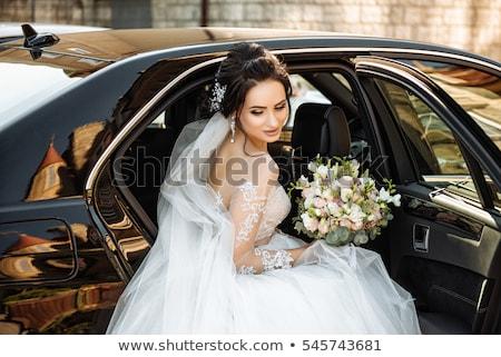 menyasszony · autó · portré · fiatal · lány · visel · fehér - stock fotó © paha_l