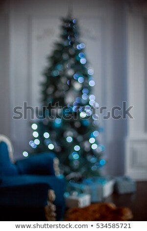 Blured blue christmas tree Stock photo © vapi