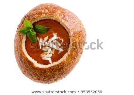 groentesoep · kom · brood · rollen · lepel - stockfoto © ozgur