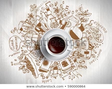 coffeeshop · iconen · kleurrijk · beige · ingesteld · vector - stockfoto © genestro