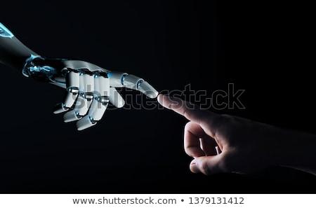 Robot robotikus technológia közlekedési tábla futurisztikus humanoid Stock fotó © Lightsource