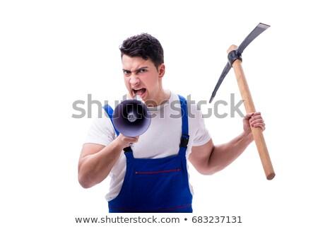Zangado homem machado isolado branco jovem Foto stock © Elnur