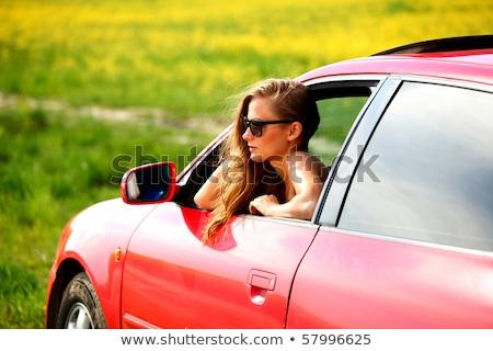 Gyönyörű nő sportautó kívül nő autó arc Stock fotó © zurijeta