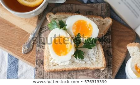 Pirítós vaj főtt tojás kettő darabok ropogós Stock fotó © Digifoodstock