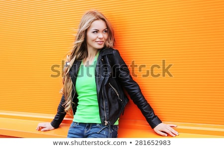 sexy · girl · zwarte · leder · poseren - stockfoto © feedough