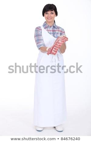 Vrouw barbecue permanente barbecue huis Stockfoto © RAStudio