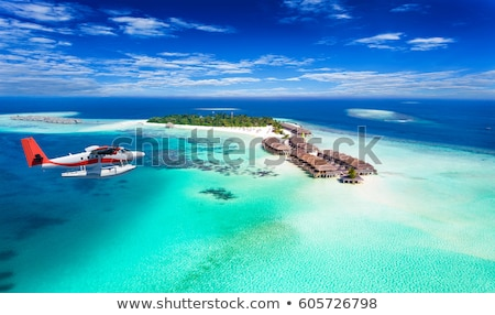 View on Maldives Islands from airplane Stock photo © luissantos84