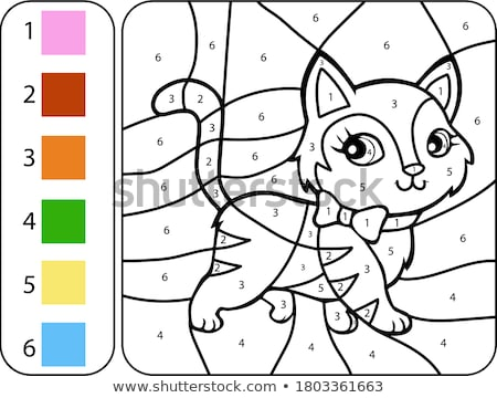 Coloring worksheet with a cat and a pencil Stock photo © bluering