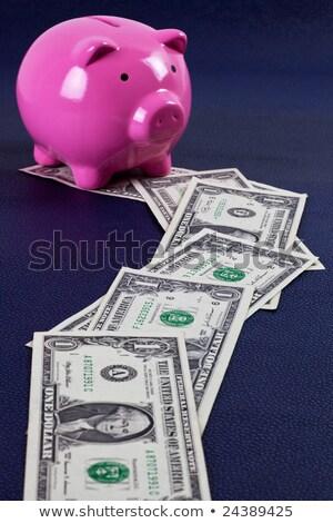 Parcours geld leidend spaarvarken top beneden Stockfoto © ozgur