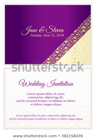 violet wedding invitation with luxury golden lace in corner and damask pattern inside of the card stock photo © liliwhite