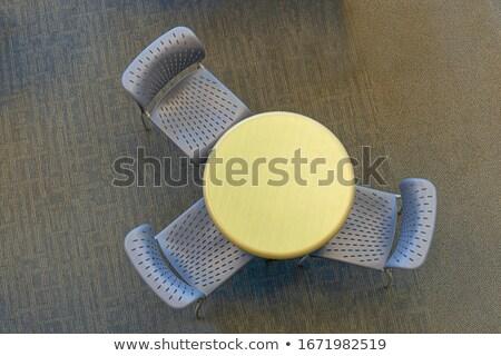 Trzy krzesła równowaga biały 3d meble Zdjęcia stock © coramax