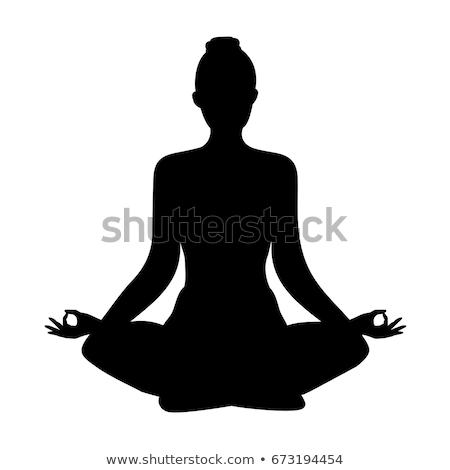 Jóga női póz sziluett jó szimbólum Stock fotó © comicvector703