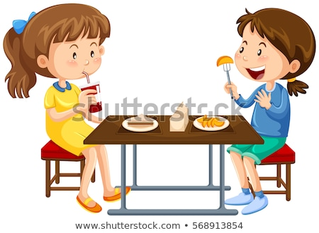 Two girls eating on picnic table Stock photo © bluering