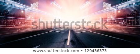 青 車 黄昏 背面図 雲 道路 ストックフォト © stoonn