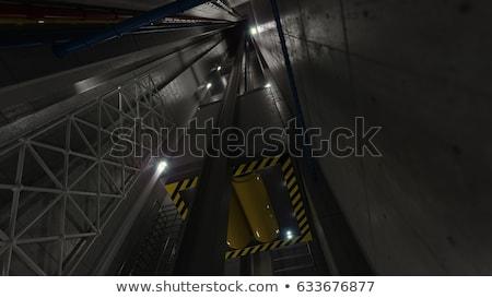 Upping Elevator Lift View Inside Elevator Shaft Technology And Industrial Concept Stok fotoğraf © denisgo