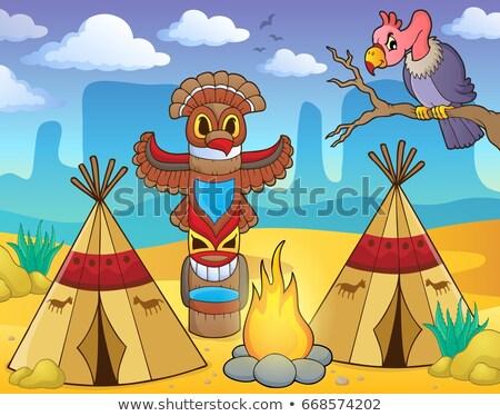 native american campsite theme image 2 stock photo © clairev
