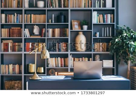 üres iroda könyvszekrény könyvtár polcok copy space Stock fotó © stevanovicigor