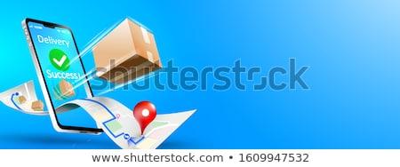Online szállítmány szolgáltatások okostelefon halom karton Stock fotó © make