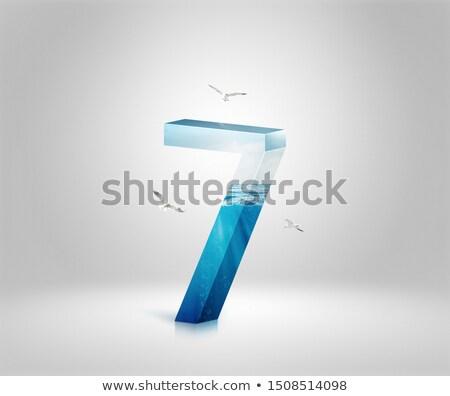 Ghiaccio carattere numero sette 3D rendering 3d Foto d'archivio © djmilic