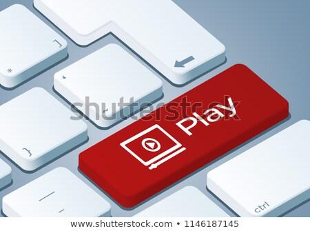 Business tools Blauw toetsenbord knop Stockfoto © tashatuvango