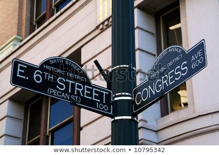 улице · Остин · Техас · дорожный · знак · вечеринка · сторон - Сток-фото © brandonseidel
