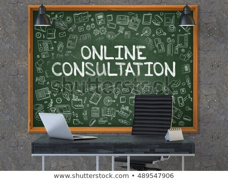 Chalkboard on the Office Wall with Online Consultation Concept. 3D. Stock photo © tashatuvango