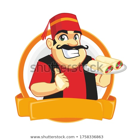 Cartoon Chef With Souvlaki Kebab Stock photo © Krisdog
