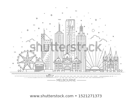 Linha Melbourne bandeira cidade estilo Foto stock © Yuriy