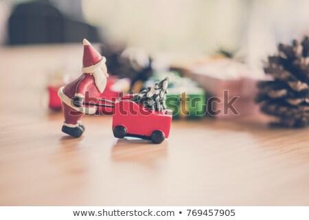 Kerstman kruiwagen Rood kerstmis christmas nieuwjaar Stockfoto © popaukropa