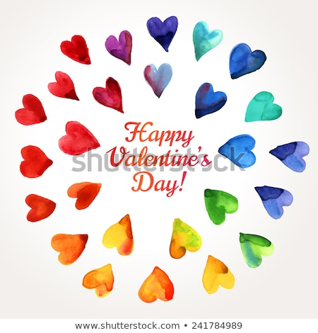 suluboya · valentine · kalp · vektör · el · boyalı - stok fotoğraf © sonya_illustrations