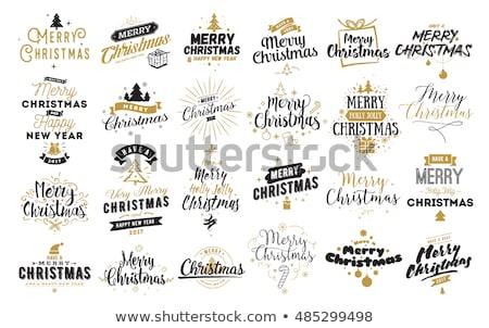 vidám · karácsony · terv · szett · tipográfia · stílus - stock fotó © vectomart