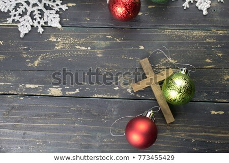 christmas holidays ornament at vintage wooden background christ stock photo © konstanttin