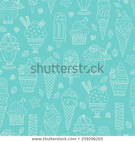 ice cream in waffle cone seamless pattern cold dessert texture stock photo © popaukropa