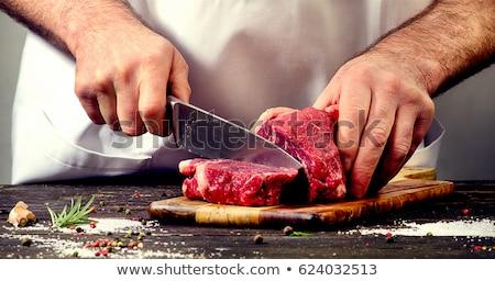 Hentes vág hús férfi friss tart Stock fotó © IS2