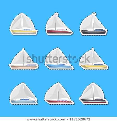 морем · Парусники · вид · сбоку · изолированный · Этикетки · набор - Сток-фото © studioworkstock