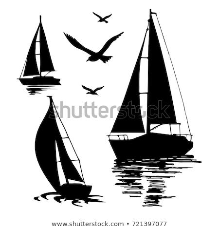 Vieux isolé blanche icône vue de côté voilier Photo stock © studioworkstock