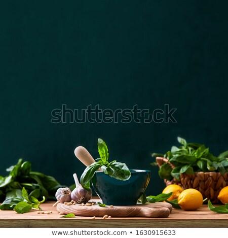 Ruw noten specerijen keukentafel amandelen keramische Stockfoto © shutter5