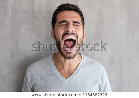Ritratto arrabbiato infastidito uomo urlando holding hands Foto d'archivio © deandrobot