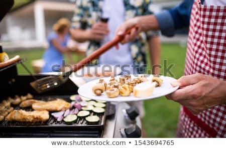 バーベキュー パーティ 家族 煙 鶏 料理 ストックフォト © Gertje