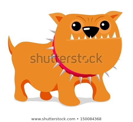 Stockfoto: Boos · bulldog · hond · cartoon · mascotte · karakter · bruin