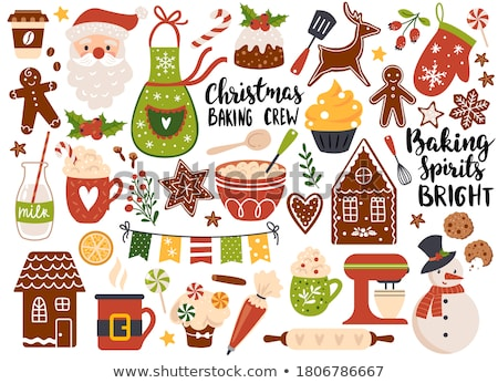 christmas gingerbread cookies stickers set stock photo © pakete