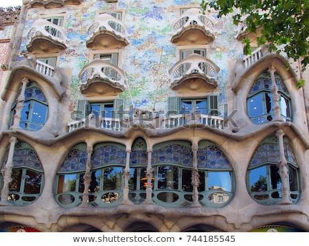 Fasada Barcelona Hiszpania 2016 zielone drzew Zdjęcia stock © vapi