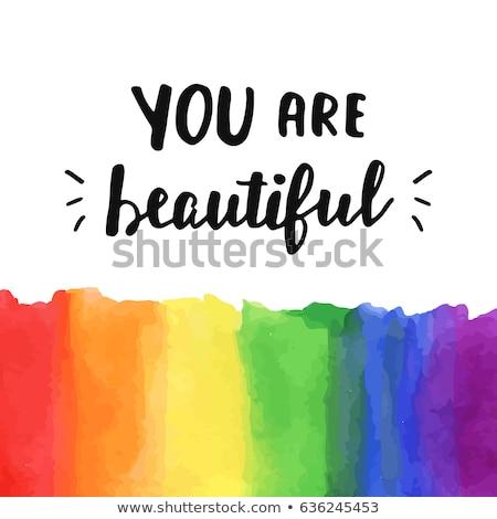 Fierté communauté emblème Rainbow lettres gay Photo stock © popaukropa
